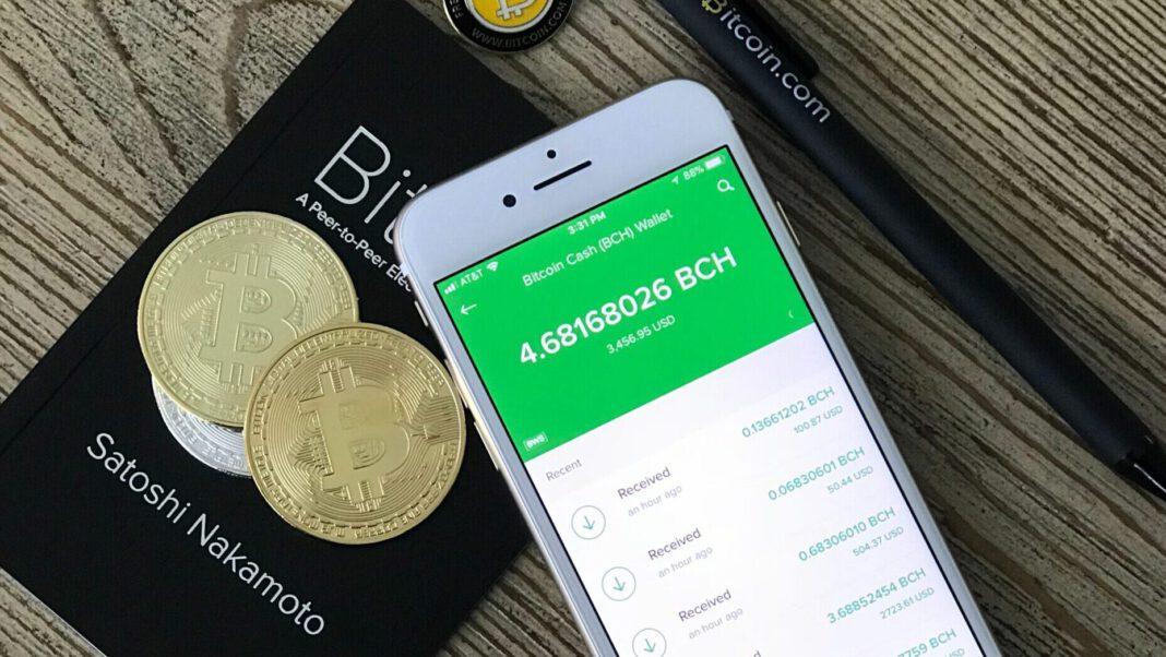 Smartphone mit Bitcoin-Wallet